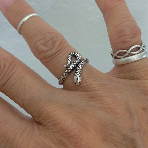 Tail Ring,Silver Ring Women Open Ring Sterling Silver Snake Ring,Adjustable Ring